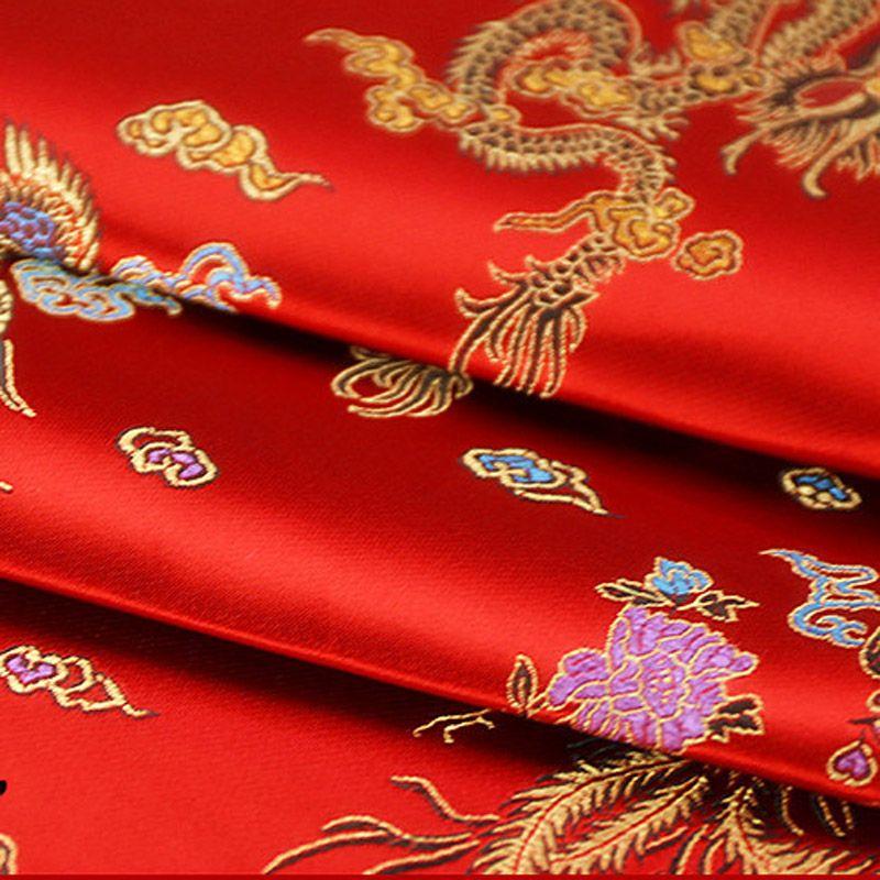 Brocade Jacquard Cloth Costume cinese Wedding COS abbigliamento cheongsam tessuto damascato di raso Sfondo rosso Dragon Phoenix