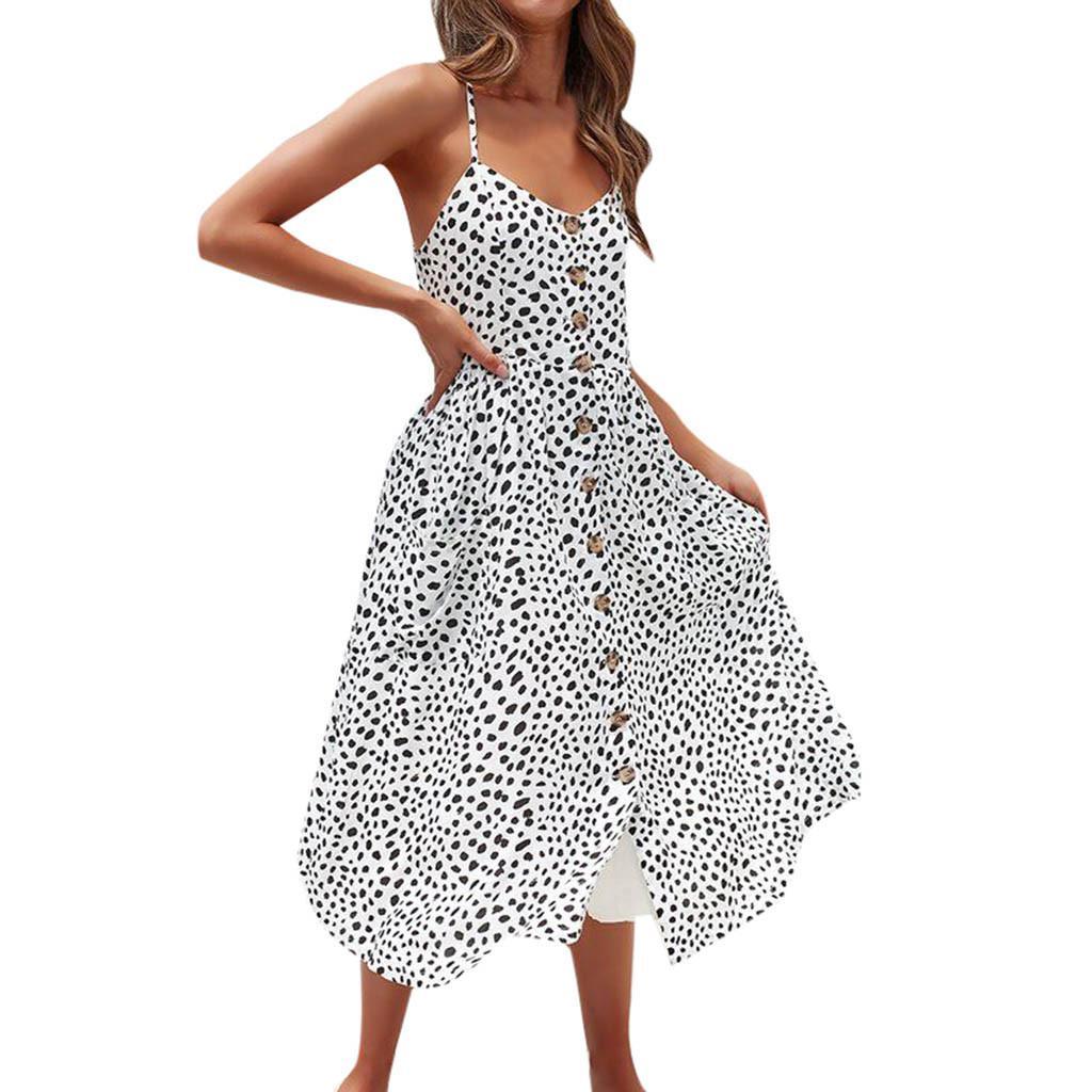 Women Polka Dot Dress Summer Pockets Buttons Up Vacation Beach Dresses Spaghetti Strap High Waist Mid-Calf Dress