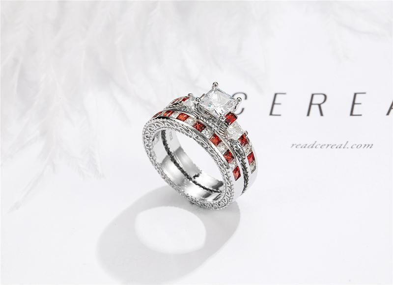 Hot selling exquisite new European and American inlaid square ring ruby wedding engagement ring female gift