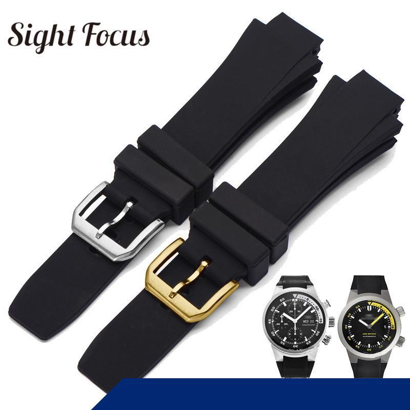 26x16 мм ремешок для часов для Iwc Aquatimer сменный ремешок Iw354807 браслет для мужчин черный Silionce резиновый ремень с пряжкой Masculino Y19070902