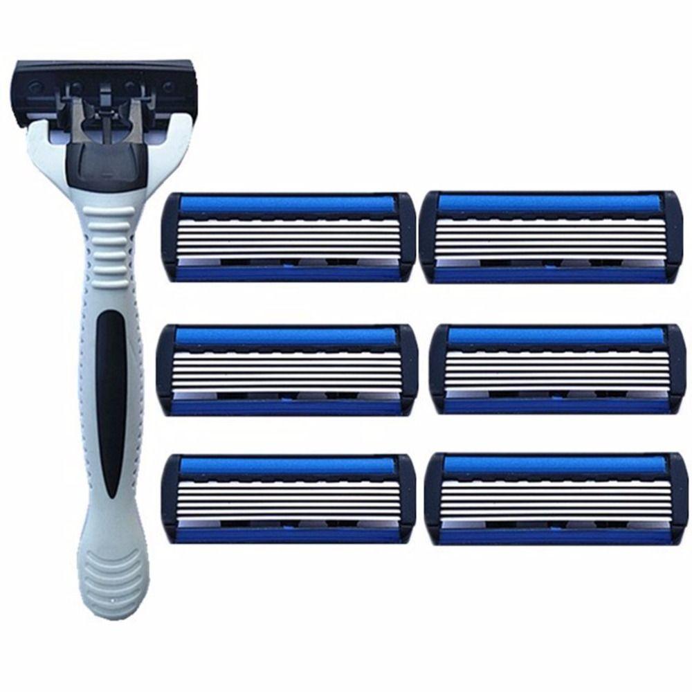 6 طبقات للرجال سلامة الحلاقة 1 حامل الحلاقة + 7 استبدال شفرات رئيس كاسيت الشعر آلة الحلاقة سكين الوجه لنزع الشعر المتقلب