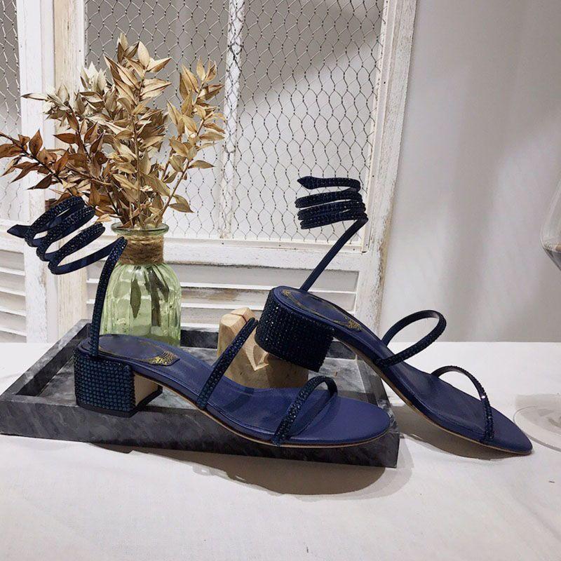 Designer sandalo delle donne di lusso diapositive di design infradito sandali 20ss diamante scarpe da sera sexy cinturino alla caviglia strass Cleo sandali rc Sandalo