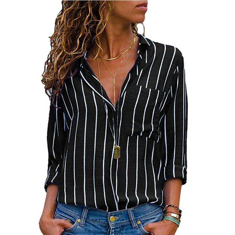 Женщины с длинным рукавом полосатые рубашки женские осень Сыпучие Топы с длинным рукавом Повседневные Блузка 2018 Новая мода V-образным вырезом женщин Одежда