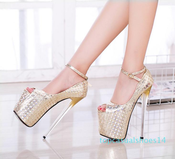 19cm Super Platform Ultra High Heels Peep Toe Pumps Women Party Club Wear fuchsia blue gold Big Size 34 to 40 41 42 43 t14