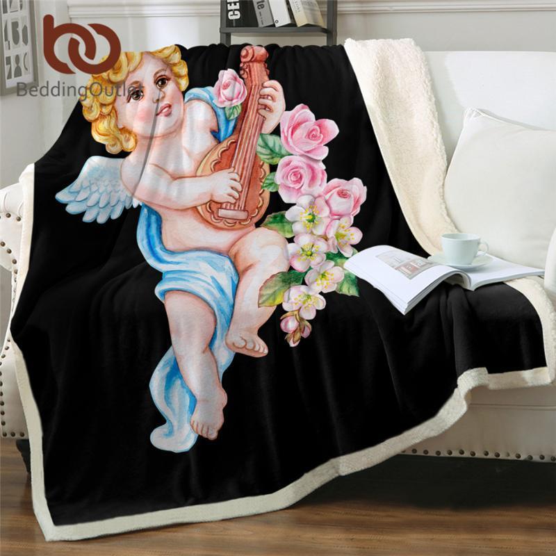 BeddingOutlet لطيف شيربا الصوف غطاء انجيل مع يوم بطانية لوت القطيفة زهور الربيع المفارش المائية Koce الحب