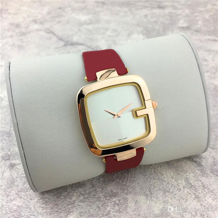 Neue populäre beiläufige quadratische Vorwahlknopf-Gesichts-Frauenuhr Schwarzes / Brown / rote lederne Bügel Armbanduhr-Dame passt Kleiduhr freies Verschiffen auf