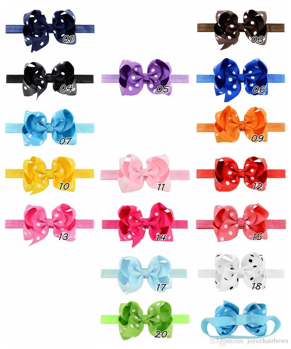 freies Verschiffen 30pcs 4.5 '' Kinder Bowknot Band-elastische Stirnband-Baby-Kind-Stirnband netten Band-Tupfen-Mädchen-Haar-Bogen-Zubehör
