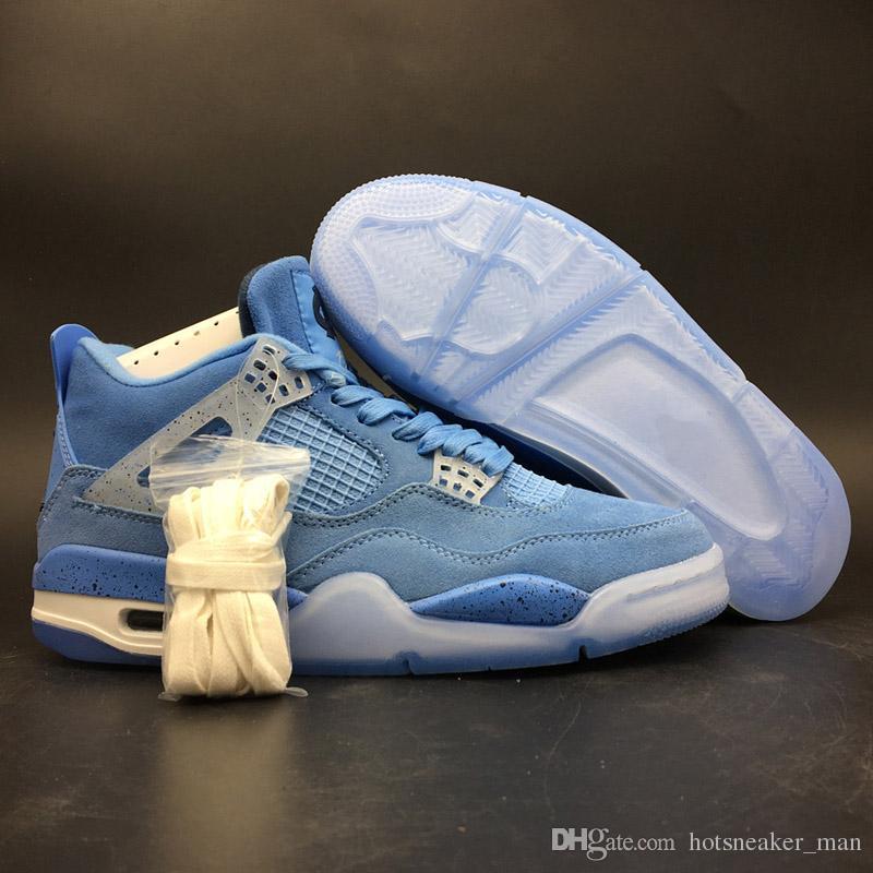 Erkekler Basketbol Ayakkabı Üniversitesi Basketbol Deri Klasik 4 Düşük OG Kuzey Mavi Tasarımcı Ayakkabı Breathabale Lüks Spor Sneaker