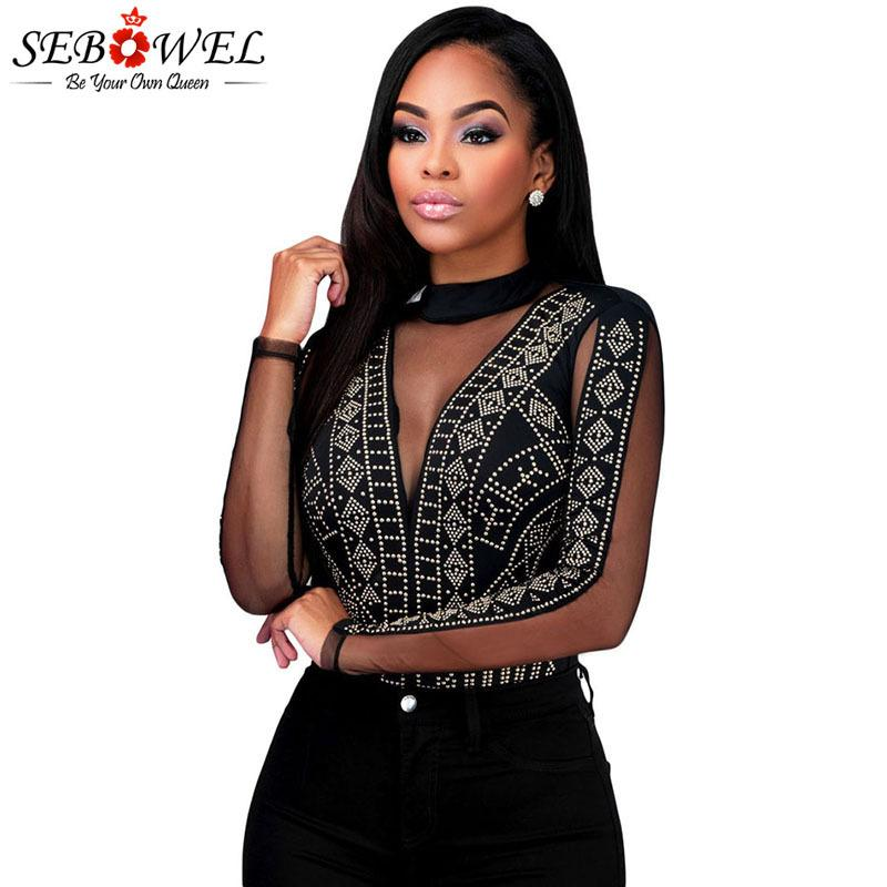 SEBOWEL Noir / Blanc strass dos ouvert femme sexy Bodys style à manches longues Printemps Automne dentelle transparente Femme Nue Top Vêtements MX200402