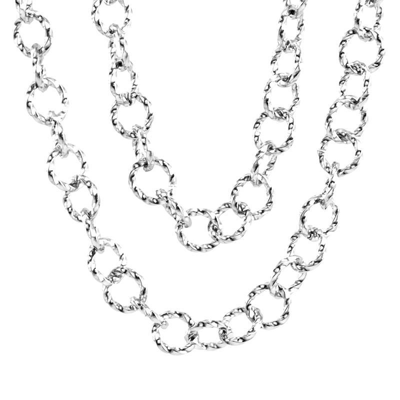 Plata / oro de la cadena del acero inoxidable O trenzado para la joyería que hace la cadena de bloqueo por metro 1m mayorista