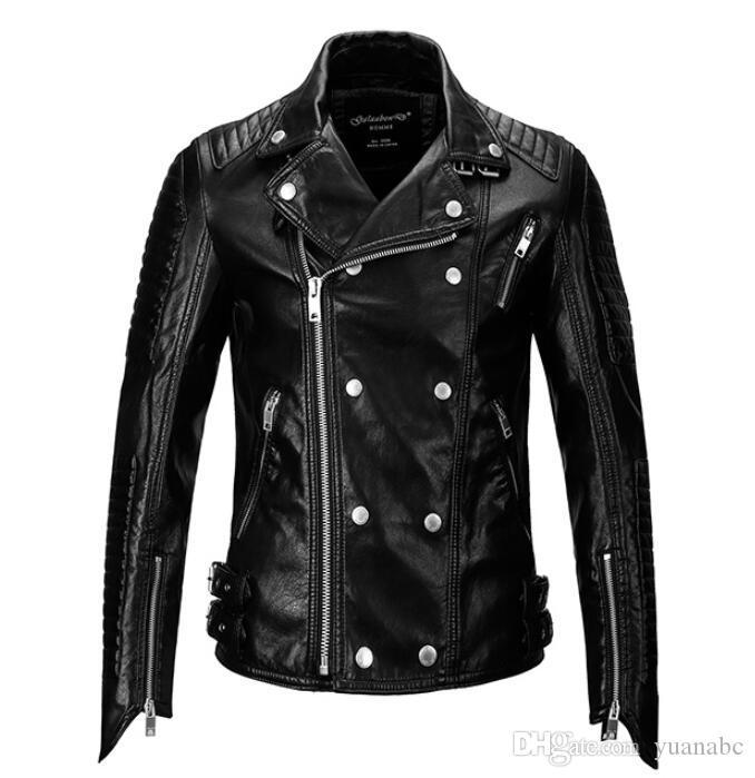 새로운 2019 남성 겨울 오토바이 자켓 물이 가죽 자켓 남성을 세척 의류 성격 패션 가죽 코트