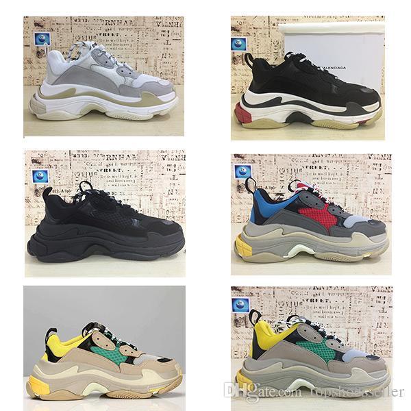 Горячая Париж Тройной с дизайнер обуви низкой топ кроссовки с тройной мужская и женская Повседневная обувь, спортивная обувь кроссовки 36-45