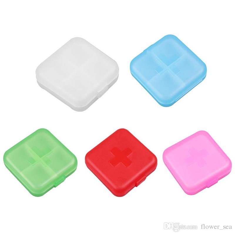 Portable 4 Grids Pill Box Tablet Medicine Storage Holder Splitter Case Storage Organizer Container Case 5 Colors