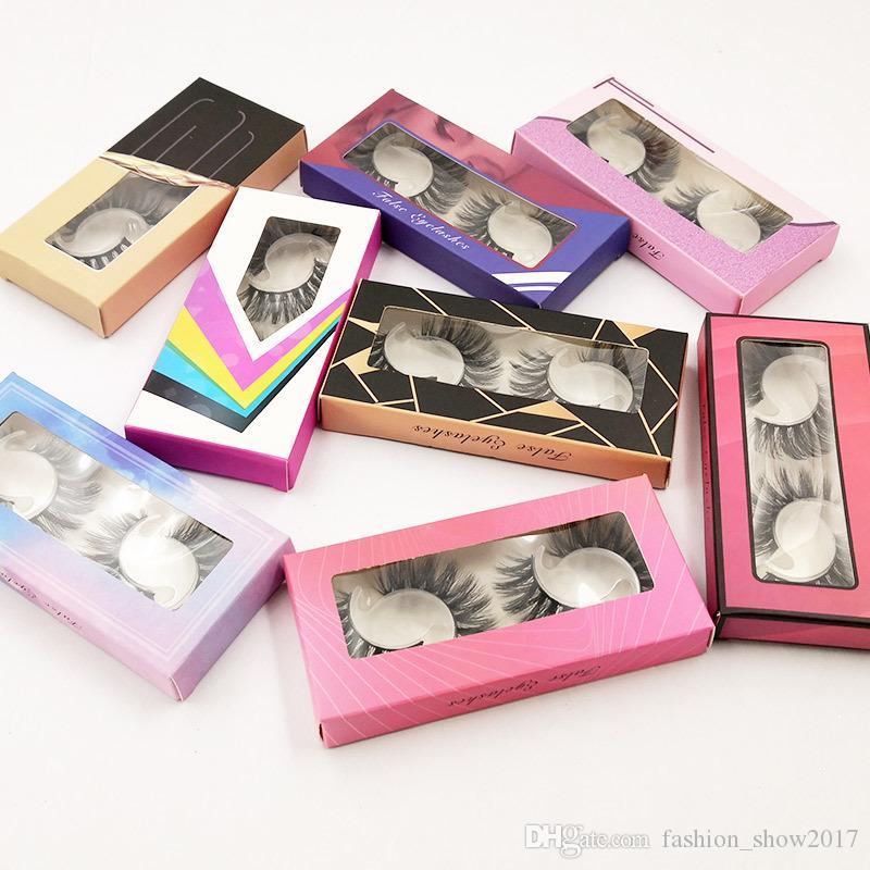 2 paires 3D Faux Mink cheveux naturels longs faux cils avec flash coloré boîte épais cils Extension