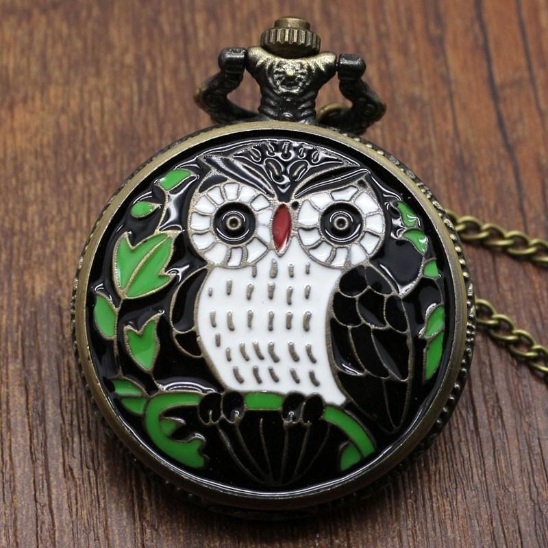 Black Night Owl-Quarz-Uhr Big-Taschen-Uhr-Halsketten-Anhänger Ketten Herren Geschenk
