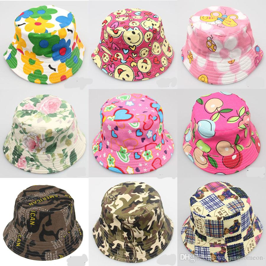 2-6T 아기 만화 인쇄 양동이 태양 모자 꽃 어린이 여름 파나마 모자 아기 소녀 어부 밀 짚 모자 아이 소년 톱니 모자