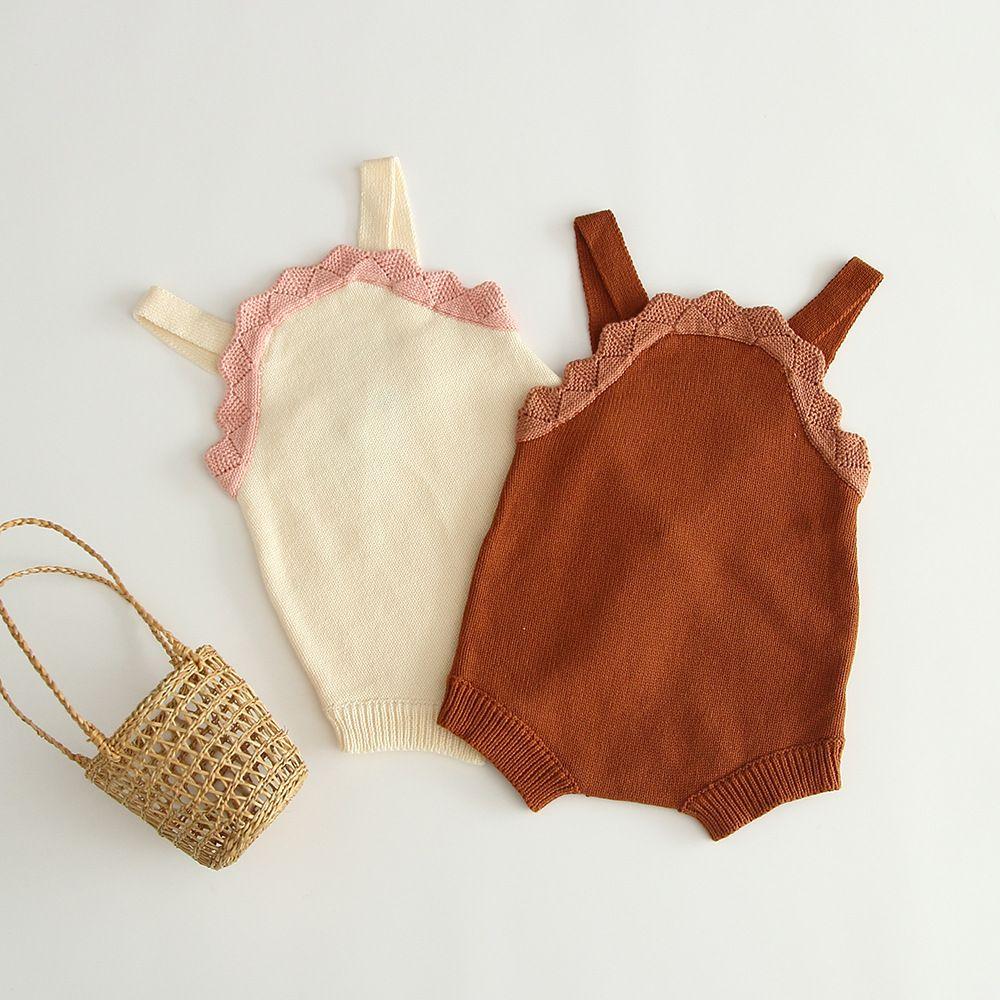 IN-Baby-Kindkleidung Spielanzug aus 100% Baumwolle Strick Solid Color Spiel Straps Body-Frühlings-Kleidung Mädchen Strampelhöschen 0-2T
