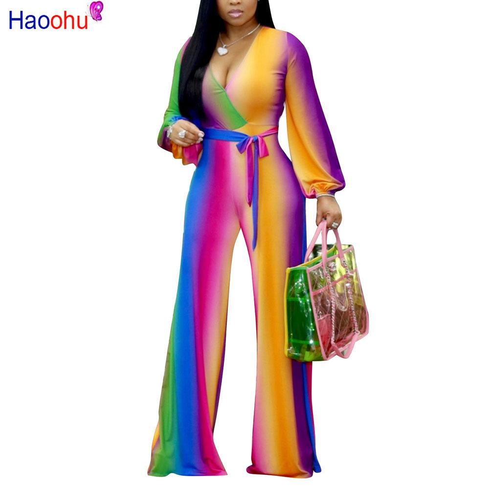 Multicolore Imprimé Mode Femmes Streetwear Combinaison Longue Sexy Décolleté V Profond Ceinturé Détails Jambes Larges Pantalon Combinaison Y19071701