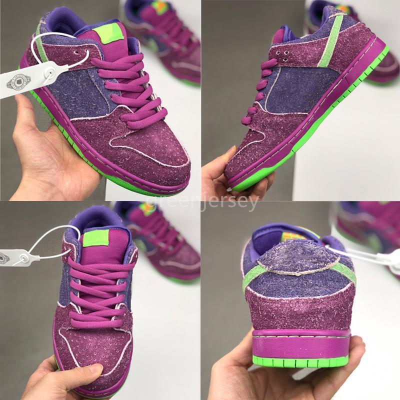 Erkekler Kadınlar Casual Ayakkabı SB Dunk Ters Düşük Kaykay Yeşil Mor Doğa Sporları Chaussures Koşu Ayakkabı Eğitmenler Sneakers Boyut 36-44