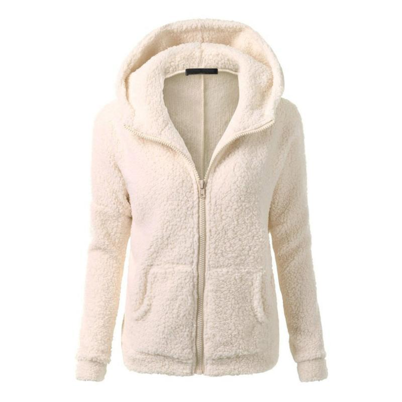 Sonbahar Kış Kadın Kapüşonlular Fleece Kapşonlu Uzun Kollu Fermuar Kalınlaşmak Coat Dış Giyim sudaderas Ceket Tişörtü Lady
