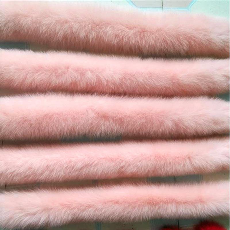 Winter 100% Real Natural Fox Fur Collar for Hood Women's jacket Sweater Scarves 70cm Pink Luxury Fox Fur Neck warps Z318