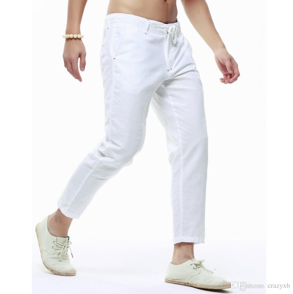 Hommes d'été Lin Capri Pantalons Jambes Lightweight Slim Pantalons simple homme de haute qualité en lin Pantalons Coton Crayon Homme Pantalons PT-136