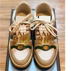 Gucci Shoes 2019New marques de luxe Designer Chaussures Hommes Casual Sneakers ace nylon et baskets chaussures de femmes Web Designer en daim taille Chaussures 35-44 KN04