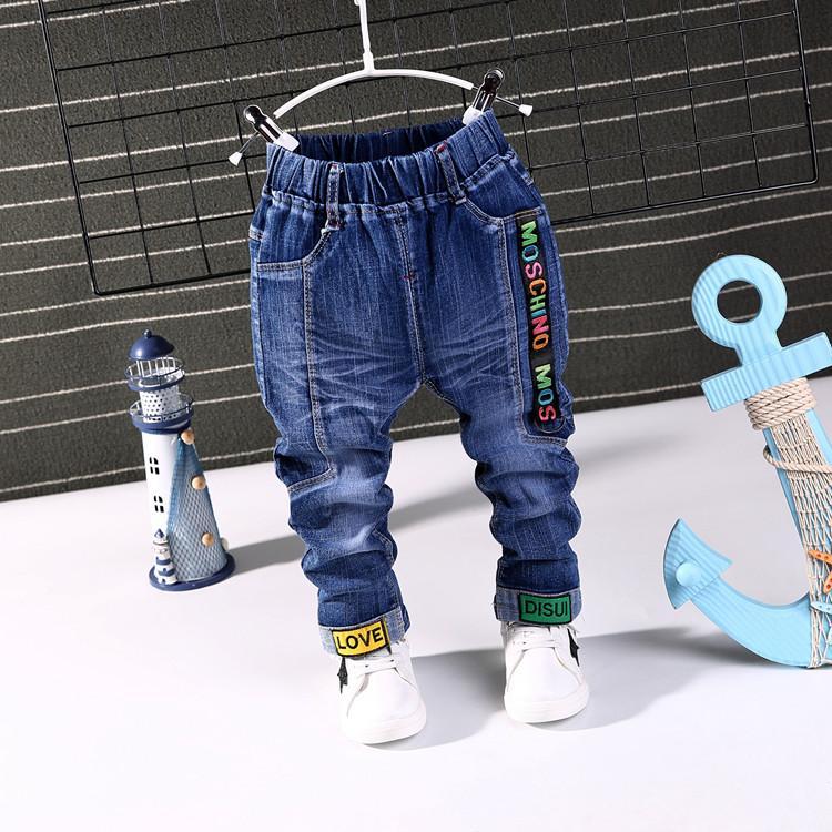 2020 Nova Primavera Moda Outono Meninos Jeans bebê casuais fivela calças cor crianças Elasticidade Jean Boy Calças Outono Crianças Denim 1-5Y