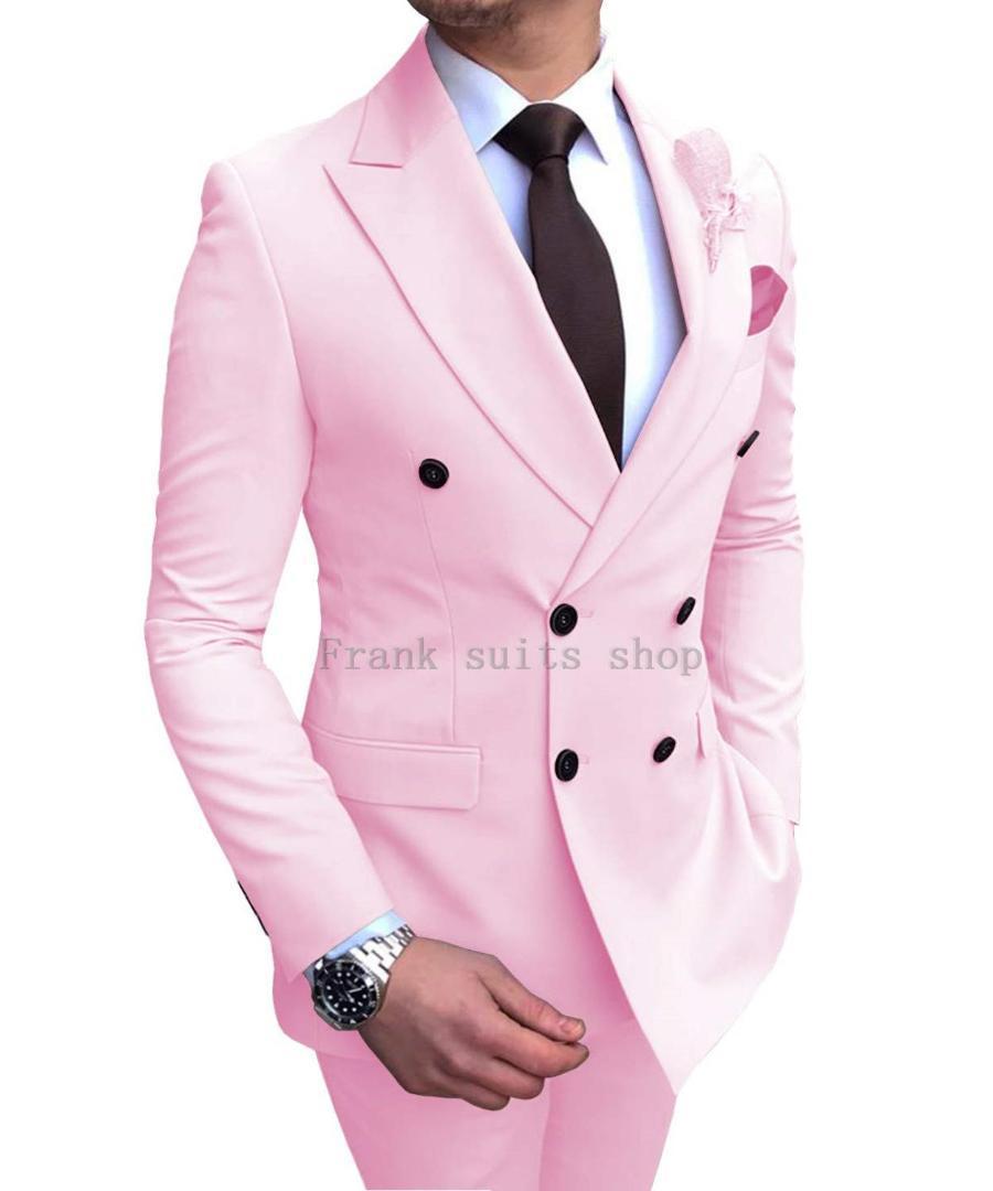Padrinos de boda del novio de los smokinges por encargo del rosa de la solapa de los hombres se adapta al mejor hombre boda 2 piezas (chaqueta + pantalones)
