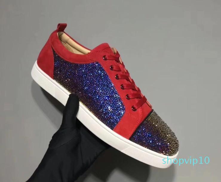 Designer Sneakers Red fundo Spikes Plano Velours Suede Sneakers ferro cinzento homens formadores de 100% couro reais partido mn189602 sapatos