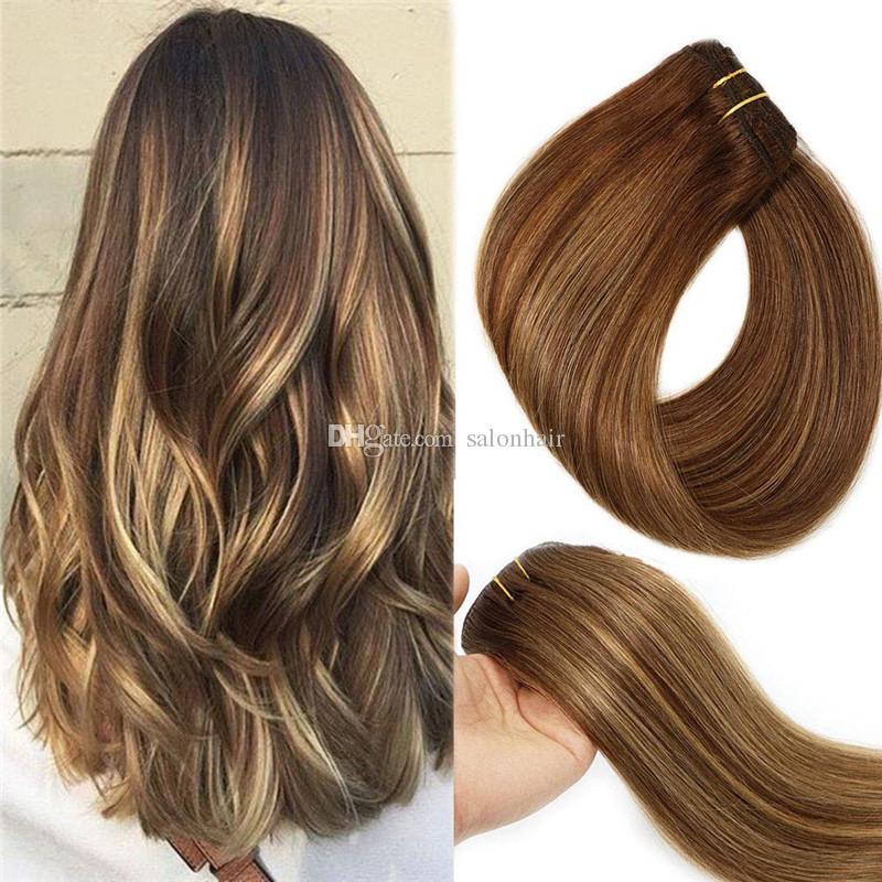 Großhandel Ombre Dye # 4 Medium Brown Bis # 27 Honey Blonde Hohe Qualität  Heißer Verkauf Brasilianisches Reines Haar Gerade Clips Haarverlängerungen  ...