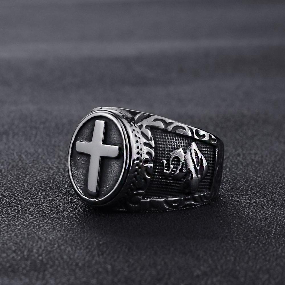 2020 neue europäische und amerikanische Zubehör New Titanium Edelstahl-Ring-Armband-Weinlese-Gebet Ring Herren Edelstahl Ring UsSize