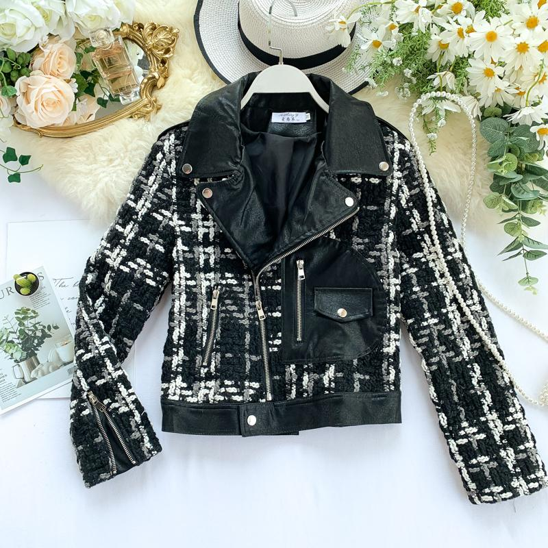 [EWQ] 2019 Frühlings-Herbst-Qualitäts-Revers langen Hülsen-Plaid-Patchwork PU-beiläufige Mantel-Frauen Fashin Tide Jacke femals
