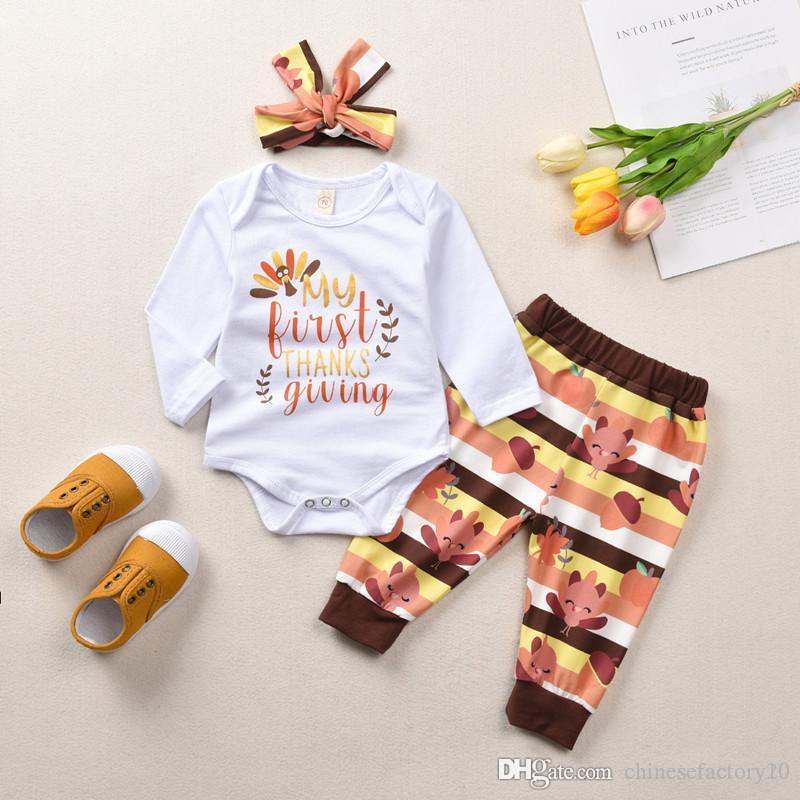 طفل الفتيات الشكر الملابس مجموعة طويلة الأكمام رومبير السراويل عقال 3 قطع أولا عيد الشكر تركيا مطبوعة مجموعة الملابس