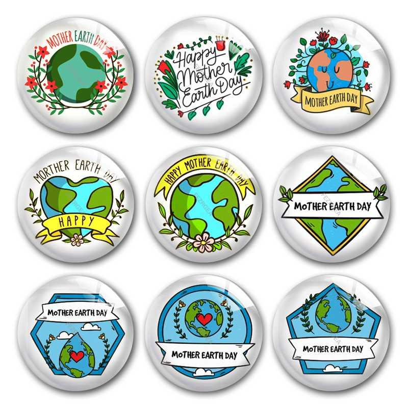 Madre Giornata della Terra di vetro cabochon, proteggere l'ambiente pianeta vetro photo Albero tondo cabochon demo schiena piatta che rendono a risultati