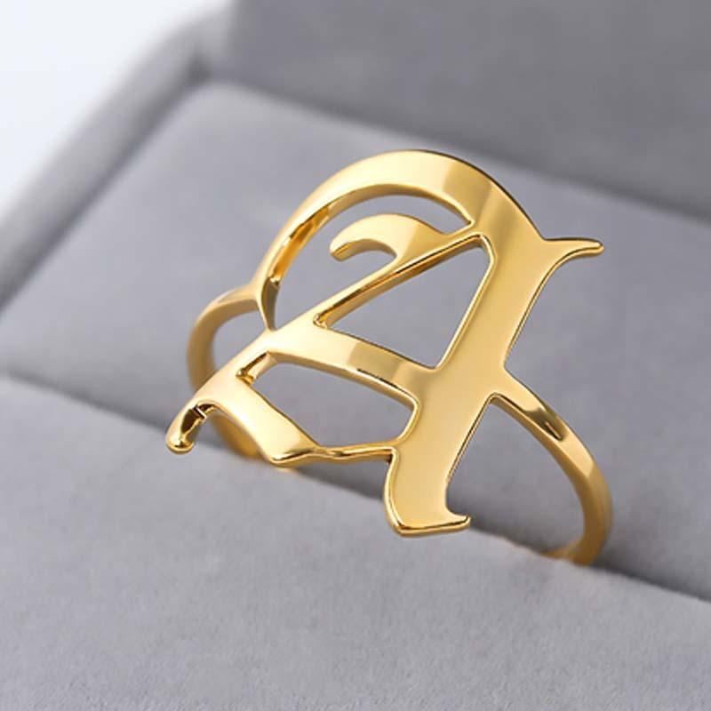 Письмо Кольцо для женщин из нержавеющей стали Кольцо Золото Серебро Мужские кольца на заказ Mujer алфавита кольцо для девушки