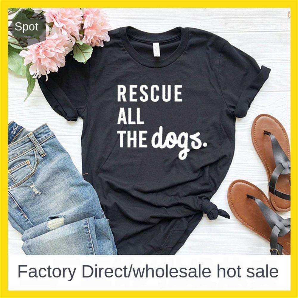 Abbigliamento donna salvare tutti i lettera cane cani a maniche corte abbigliamento femminile salvare tutti i cani T-shirt cani lettera a maniche corte T-shirt