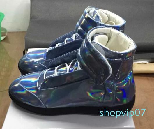 Venta caliente de las zapatillas de deporte-Designer Kanye West High Top Patente genuino ocasionales de cuero zapatos planos Margiela las zapatillas de deporte 38-47 con la caja