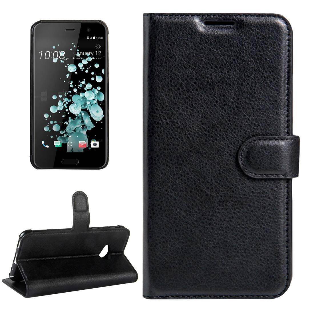 Pour HTC U Jouer Litchi Texture Flip Case horizontal en cuir avec boucle magnétique Porte-monnaie carte Machines à sous