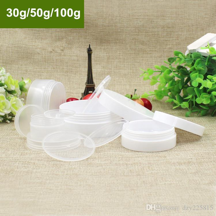 50 X High Quality Large Clear/White PP Cream Jar Empty Makeup Sample Cosmetic Refillable Container 30g/50g/100g