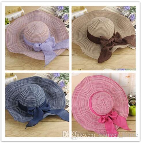 Kadınlar Renkli Büyük Ağız Hasır Şapka Güneş Disket Geniş Ağız Şapka Yeni Ilmek Katlanır Plaj Kap şapka kadın Yaz 2019