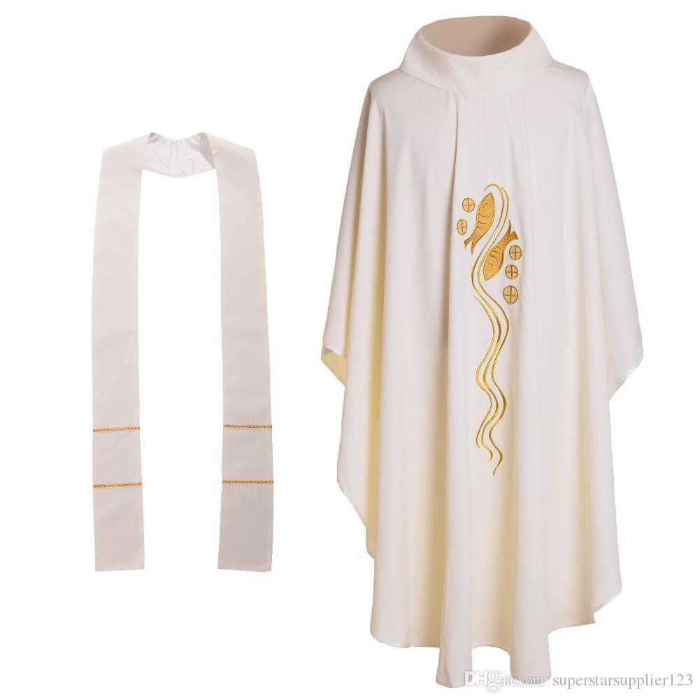 Heilige Religie Kostuums Katholieke Kerk Priester Witte Vis Geborduurde Chasuble No Collar Massacadements 3 stijlen