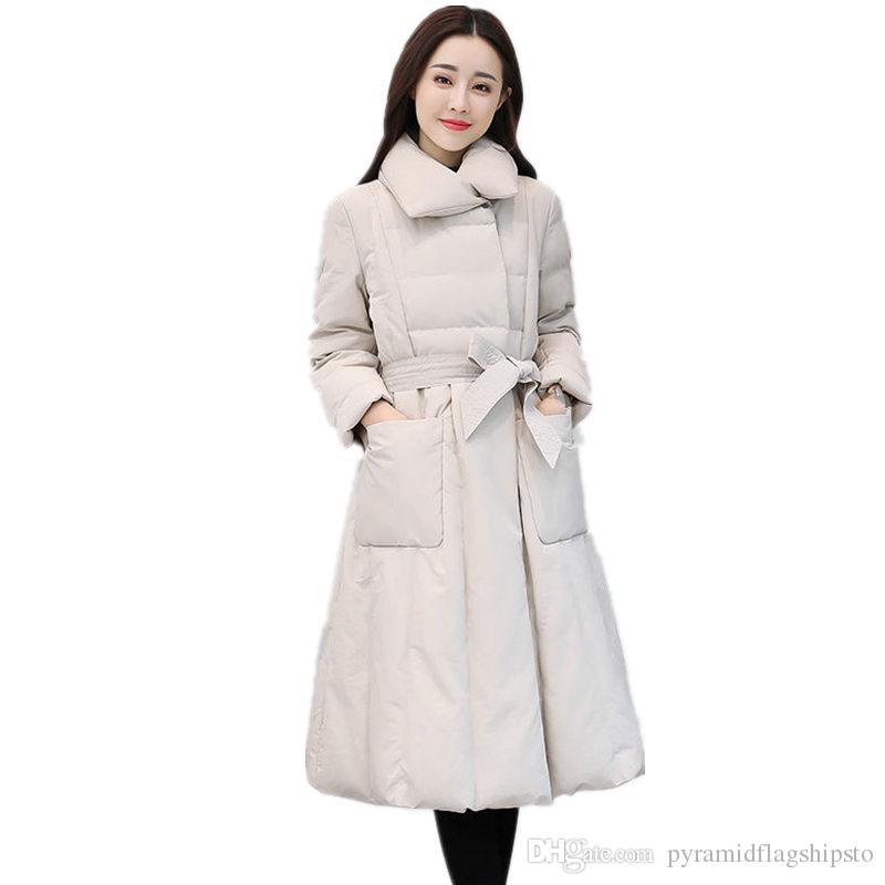 Winter Down Cotton Jacket Women Parka Slim Warm Padded Coat Elegant Casual Jacket Femme Streetwear Ladies Long Jacket Coat