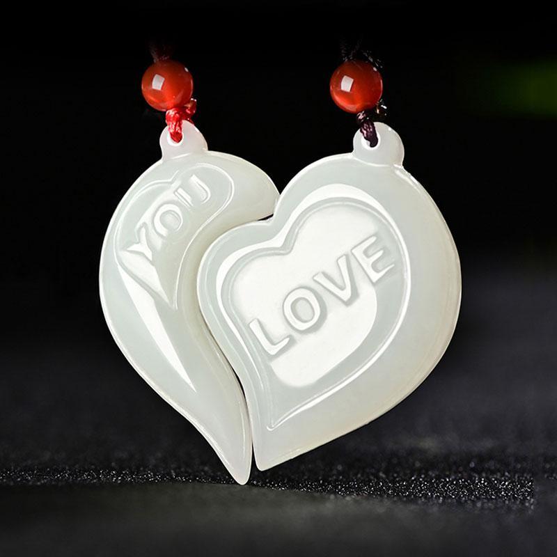 giada bianca a forma di cuore pendente paio uomini e donne di monili di giada collana pendente dono naturale di Hetian stile di moda