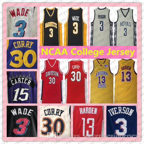 NCAA Dwyane 3 Wade Stephen 30 Curry Jersey Allen 3 Iverson Basketball Jersey James 13 Harden Carter Durant Anthony College