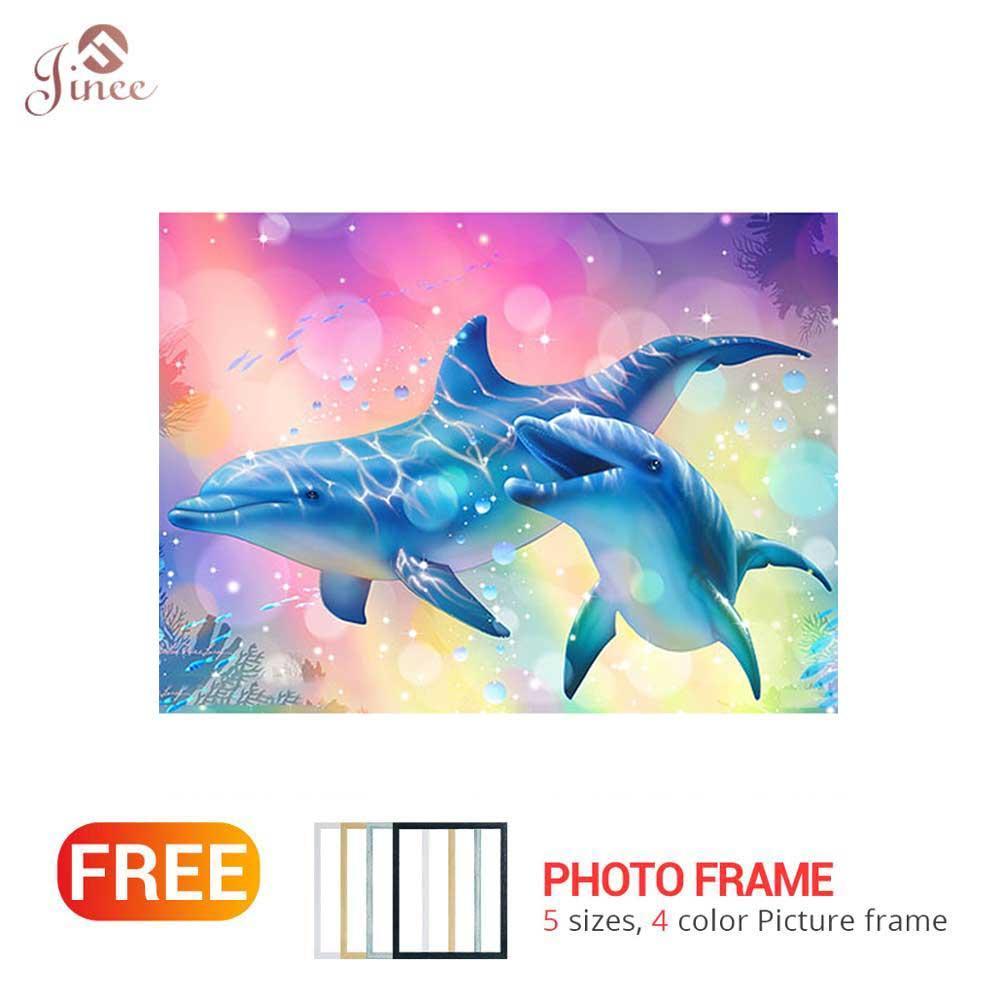 Trapano quadrato / rotondo pieno 5D fai da te diamante pittura animale carino Dolphin 3D ricamo punto croce 5D regalo decorazioni per la casa