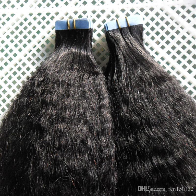 Tape Em Extensões de cabelo humano Pure Color Kinky fita reta 40pcs grosso yaki em extensão não-Remy Dupla Face Cabelo Tape