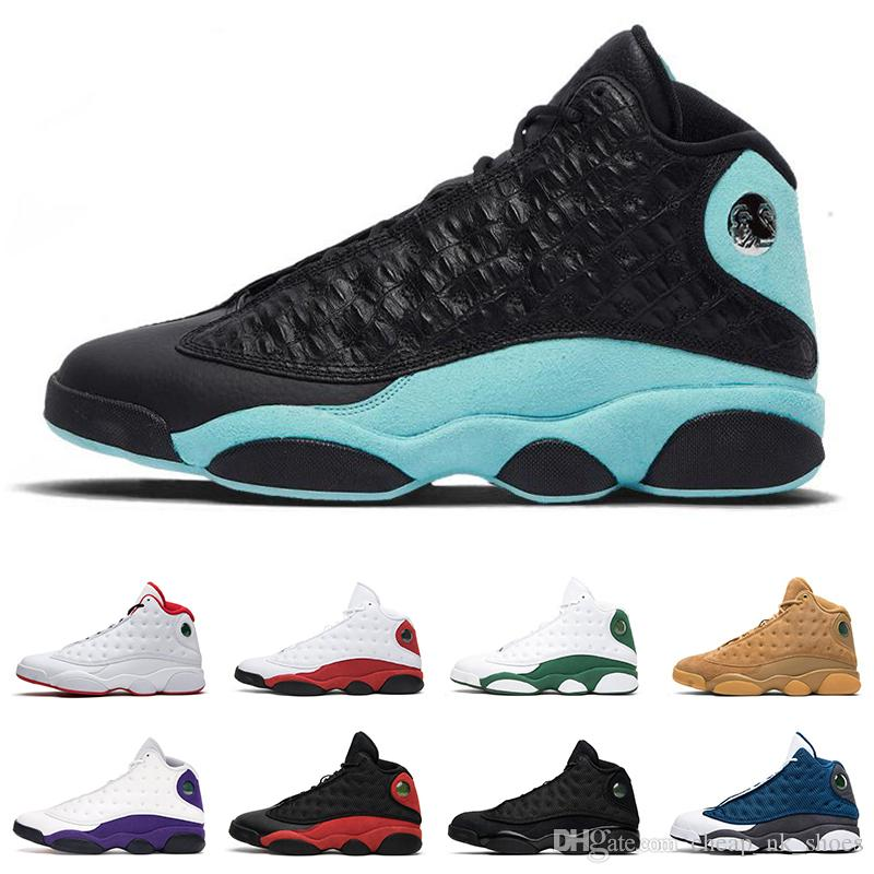 Island Green 13s Mens Basketball Shoes Court Purple Cap And Gown Dirty Bred Hyper Royal Black Cat 13 Men Trainer Sports Sneakers Shoes Mens Online