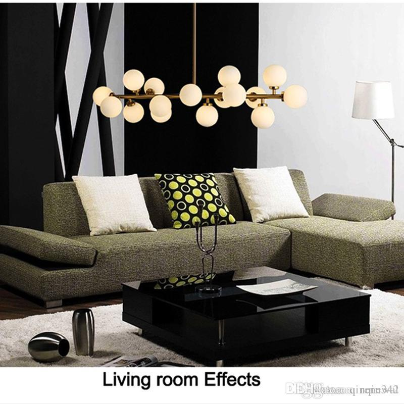Moden art colgante de luz dorado / negro magia frijol lámpara led sala de estar comedor tienda led striplight lámpara colgante de vidrio accesorios