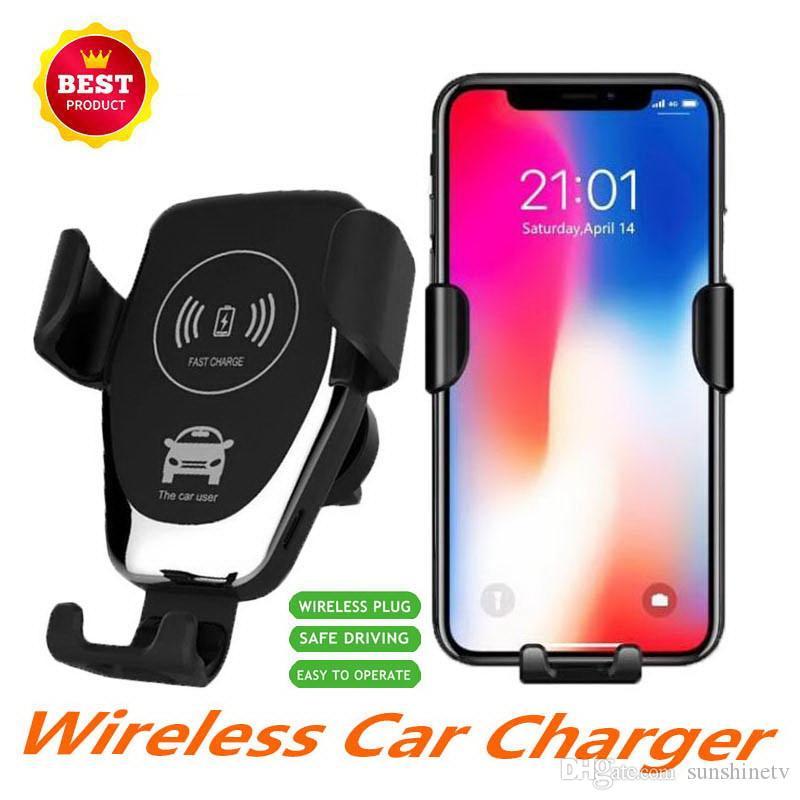 Wireless Qi del supporto del caricatore per auto regolabile Gravity Air Vent Holder telefono per l'iPhone Samsung Nexus Moto OnePlus HTC Sony Nokia e Android